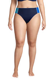 Women's Plus Size Chlorine Resistant Piped Mid Waist Bikini Bottoms