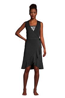 Women's Ruffle Hem Sleeveless Cover-up Wrap Dress