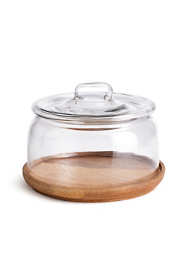 Napa Home and Garden Adrien Wood Tray With Glass Cloche