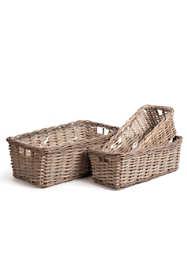 Napa Home and Garden Normandy Rattan Cane Rectangular Baskets Set Of 3