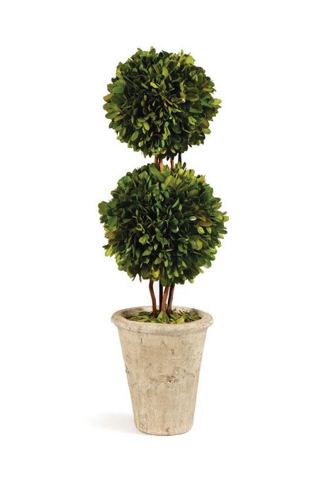 Napa Home and Garden 20 inch Artificial Potted Boxwood Double Sphere Topiary