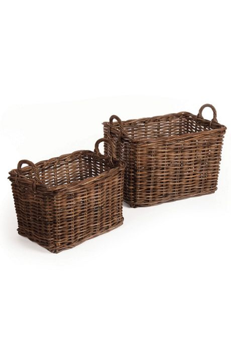 Napa Home and Garden Normandy Rattan Cane Light Brown Laundry Baskets Set Of 2