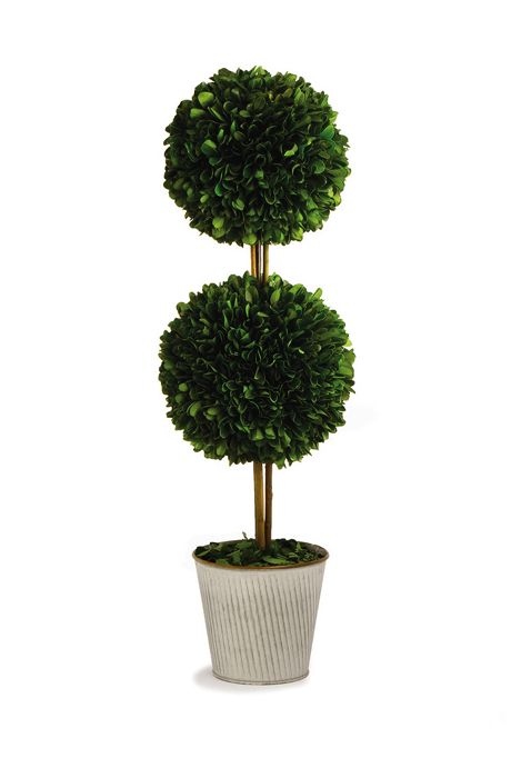 Napa Home and Garden 20 inch Artificial Boxwood Double Ball Potted Topiary