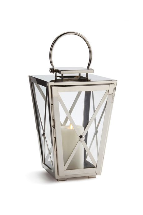 Napa Home and Garden 12.5 inch Arlington Stainless Steel and Glass Outdoor Lantern