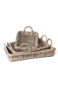 Napa Home and Garden Normandy Rattan Cane Serving Trays Set Of 3