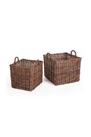 Napa Home and Garden Normandy Rattan Cane Square Baskets With Handles Set Of 2