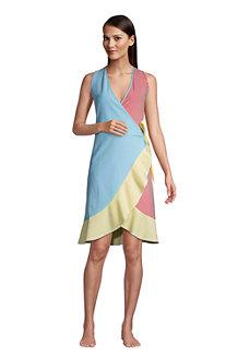 Women's Ruffle Hem Sleeveless Seersucker Cover-up Wrap Dress