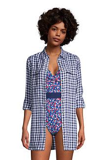 Draper James x Lands' End Women's Pure Linen Roll Sleeve Utility Shirt