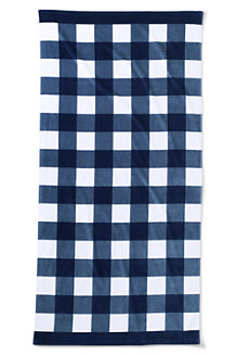 Draper James x Lands' End Gingham Velor Beach Towel