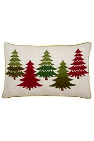 Saro Lifestyle Embroidered Christmas Trees Decorative Throw Pillow
