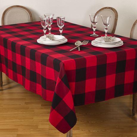 Saro Lifestyle Buffalo Plaid Cotton 65 x 104 Tablecloth