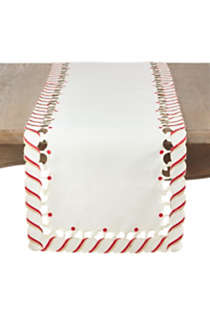 Saro Lifestyle Christmas Candy Cane Stripe 16 x 54 Table Runner, Front