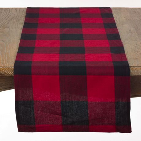 Saro Lifestyle Buffalo Plaid Cotton 16 x 108 Table Runner