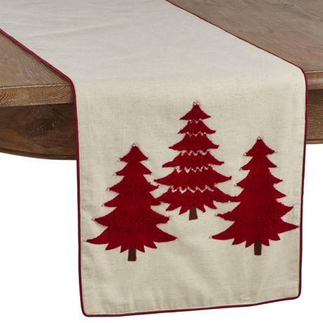 Saro Lifestyle Embroidered Christmas Tree Table Runner
