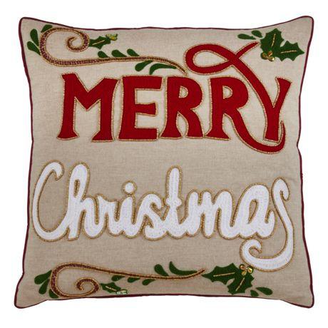 Saro Lifestyle Embroidered Merry Christmas Decorative Throw Pillow