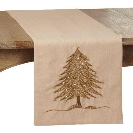 Saro Lifestyle Beaded Christmas Tree Table Runner