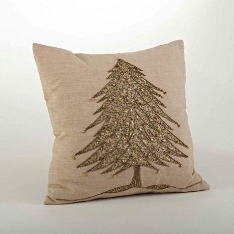 Saro Lifestyle Beaded Christmas Tree Decorative Throw Pillow