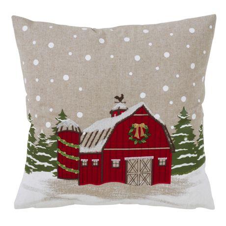 Saro Lifestyle Christmas Barn Decorative Throw Pillow
