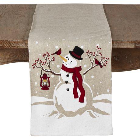 Saro Lifestyle Christmas Snowman Table Runner