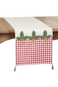 Saro Lifestyle Holly Buffalo Plaid Christmas Table Runner with Tassels