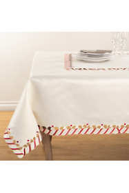 Saro Lifestyle Christmas Candy Cane Stripe 72 Inch Tablecloth