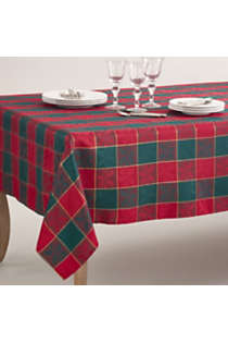 Saro Lifestyle Christmas Holly Plaid 65 X 140 Tablecloth Lands End
