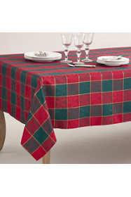 Saro Lifestyle Christmas Holly Plaid 65 x 140 Tablecloth