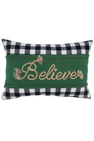 Saro Lifestyle Believe Buffalo Plaid Christmas Decorative Throw Pillow