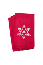 Saro Lifestyle Christmas Snowflake Hemstitch Linen Guest Towels - Set of 4