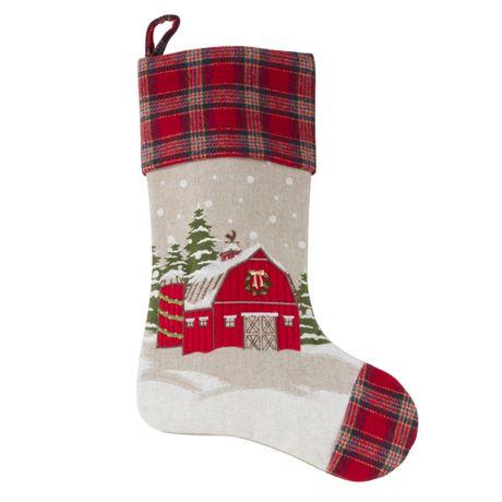 Saro Lifestyle Plaid Border Christmas Barn Christmas Stocking
