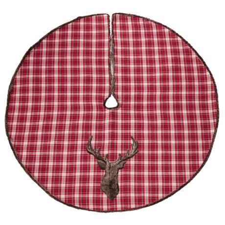 Saro Lifestyle Plaid Reindeer Christmas Tree Skirt
