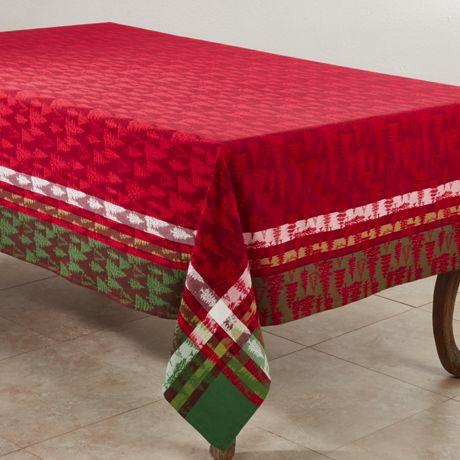 Saro Lifestyle Christmas Tree Print 65 x 140 Tablecloth