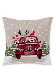 Saro Lifestyle Christmas Car Decorative Throw Pillow