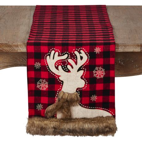 Saro Lifestyle Christmas Reindeer Plaid Table Runner