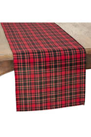 Saro Lifestyle Christmas Plaid 16 x 120 Table Runner