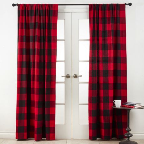 Saro Lifestyle Buffalo Plaid 54 x 108 Cotton Curtains