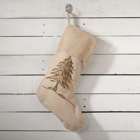 Saro Lifestyle Beaded Tree Christmas Stocking