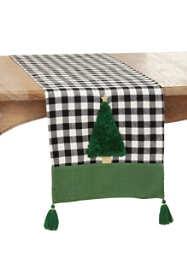 Saro Lifestyle Christmas Tree Buffalo Plaid Table Runner with Tassels
