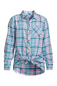 Flanellhemd mit geknotetem Saum für Mädchen