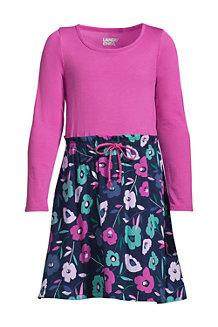 Girls' Long Sleeve Fabric Mix Dress
