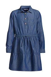 Girls' Long Sleeve Chambray Dress