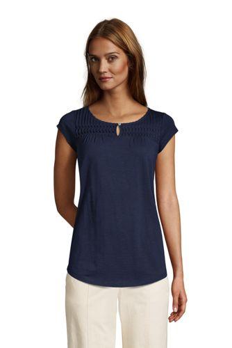 T-Shirt Long en Jersey Flammé à Mancherons, Femme Stature Standard