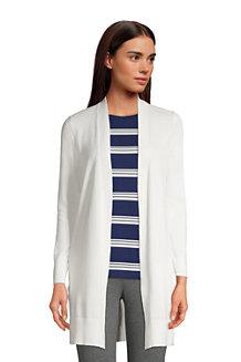 Women's Fine Gauge Cotton Long Open Cardigan