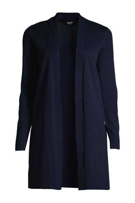 Women's Fine Gauge Cotton Long Open Cardigan Sweater