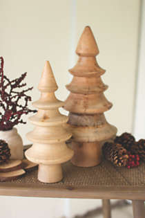 Kalalou Turned Mango Wood Christmas Trees - Set of 2, alternative image