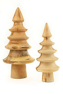 Kalalou Turned Mango Wood Christmas Trees - Set of 2, Front