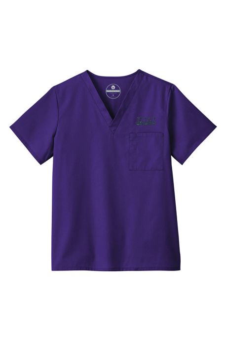 White Swan Fundamentals Unisex Big Plus Size Scrubs Uniform V-neck Top 1 Pocket