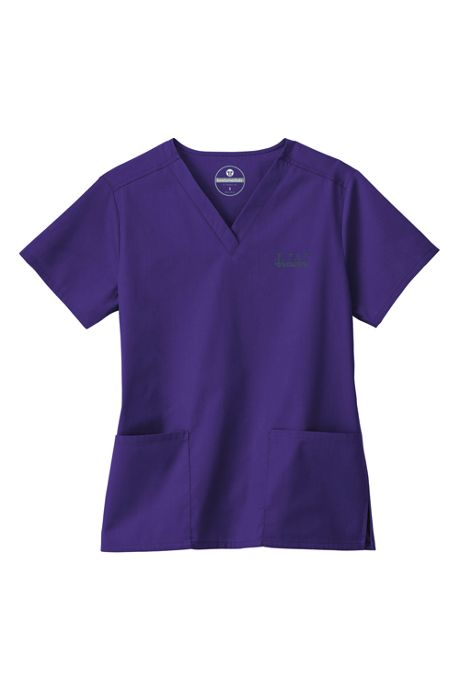 White Swan Fundamentals Women's Plus Size Scrubs V-neck Top 2 Pocket