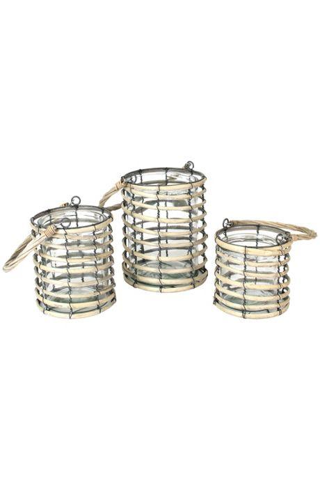 Kalalou Grey Willow Votive Glass Lanterns - Set of 3