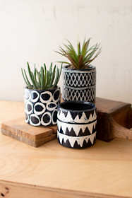 Kalalou Ceramic Pattern Planters - Set of 3